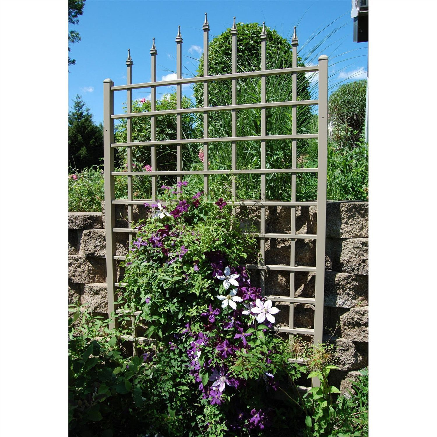 8 Ft Vinyl Trellis in Mocha Brown with Wall Mounting Hardware ...