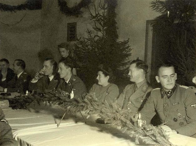 Westerbork, Holland, SD officers from the camp staff on Christmas Eve.
