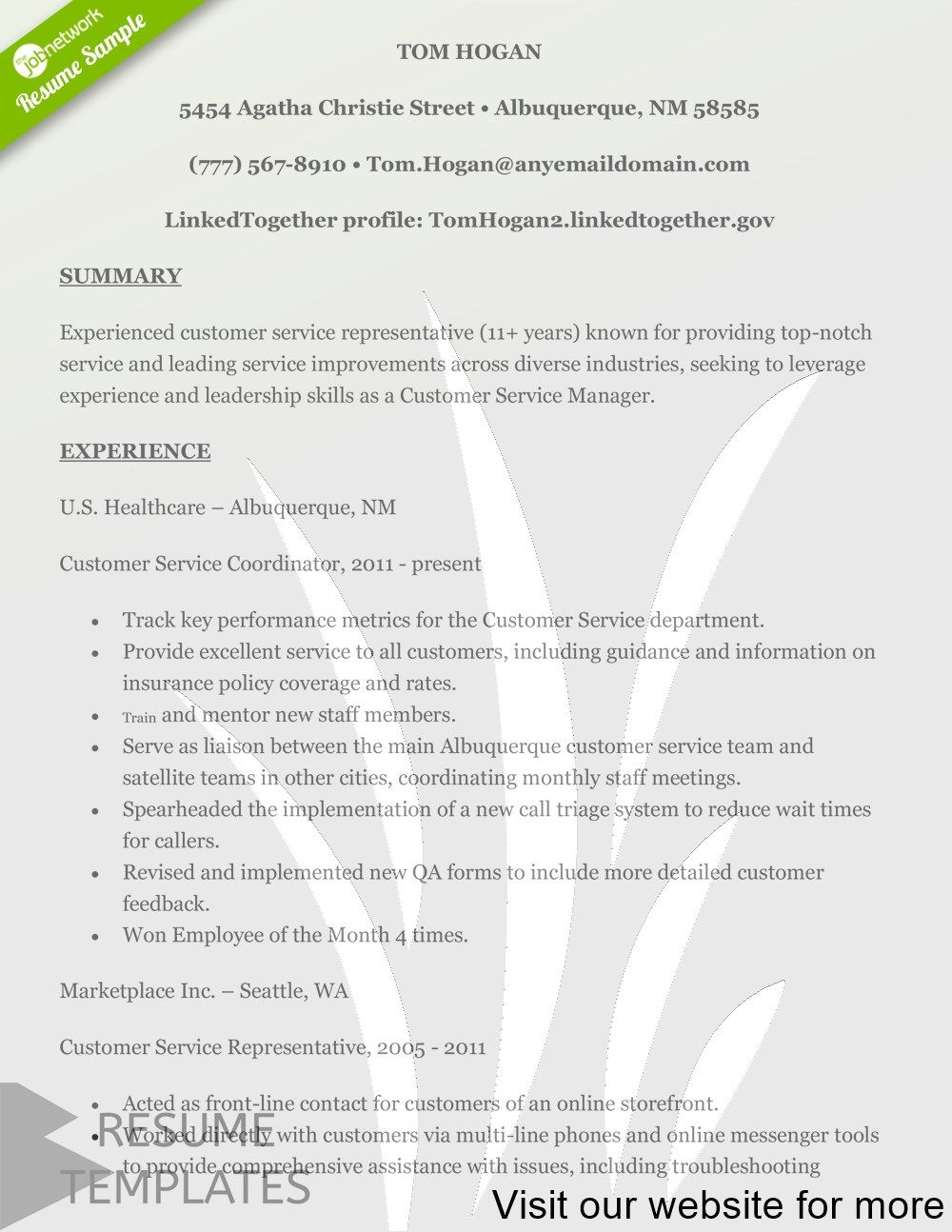 resume template free ai 2020 in 2020 Customer service