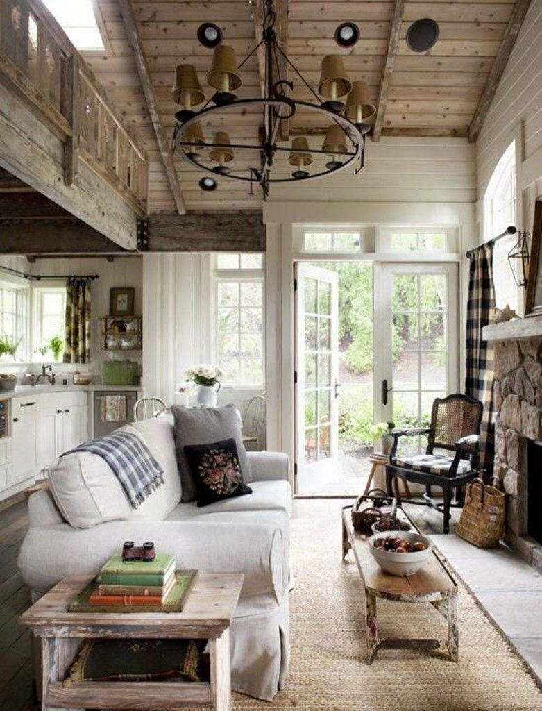 Cottage Living Room White and Wood