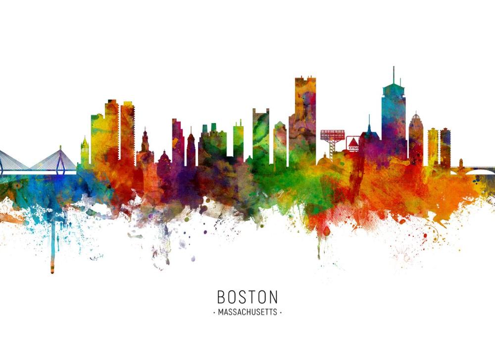 Boston Skyline Metal Poster Michael Tompsett Displate Boston Skyline Painting Boston Skyline Landscape Poster