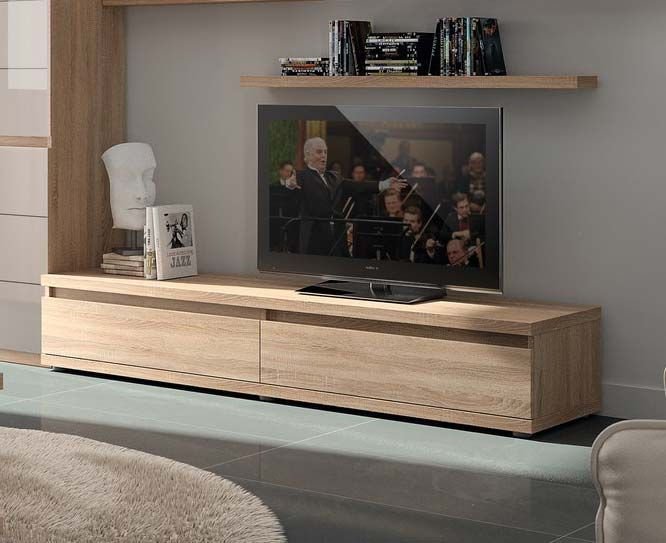 Meuble tv couleur ch ne clair contemporain adriely 2 for Meuble tele chene