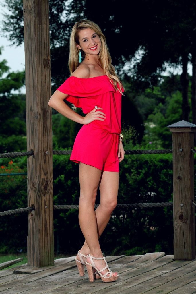 The perfect pink ruffly romper from The Mint Julep