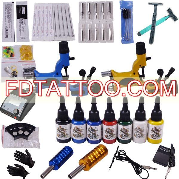 Tattoo kit 7 color ink led power supply dragonfly motor for Tattoo supplies wholesale