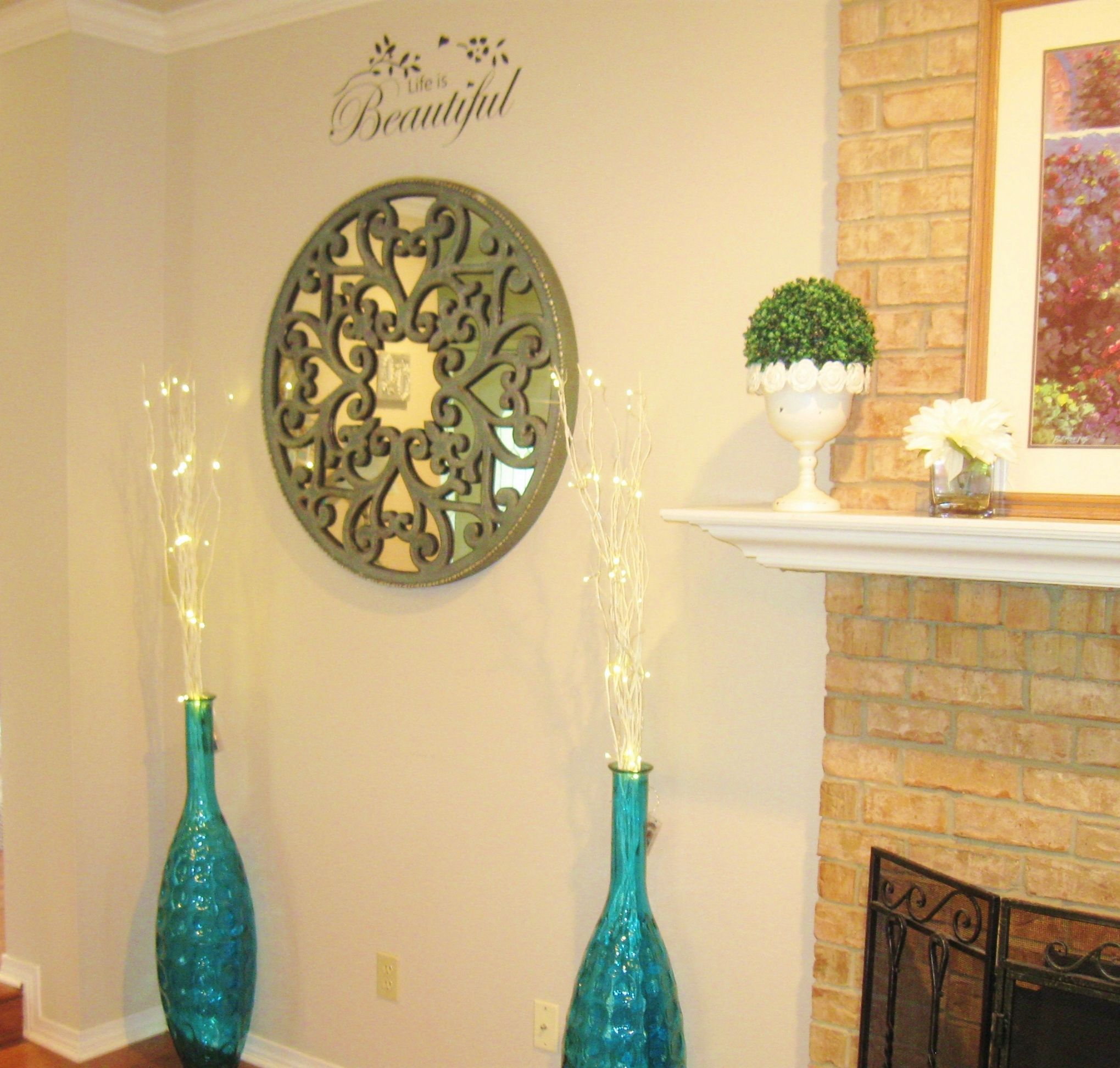 Pier One: {Carved Scroll Wall Decor   And Teal Peacock Floor Vases