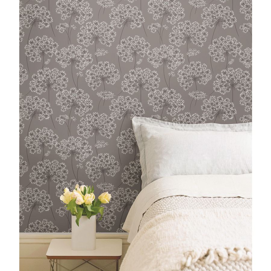 good color, too girlyl Grey wallpaper, Peel and stick
