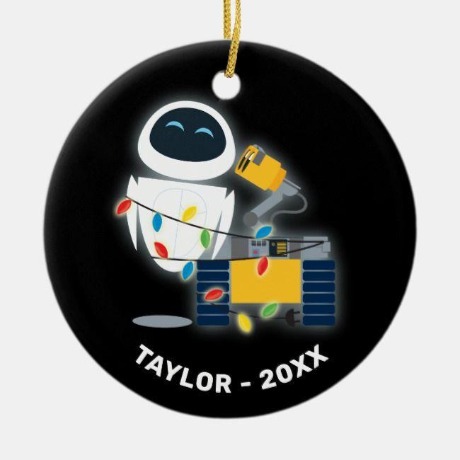 WALL-E & EVE Christmas Ceramic Ornament | Zazzle.com ...