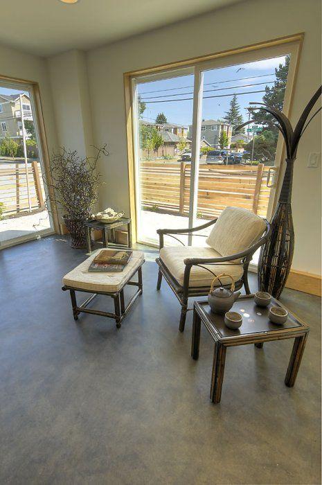 Interior Living Room Decorative Concrete Floor Stain Using