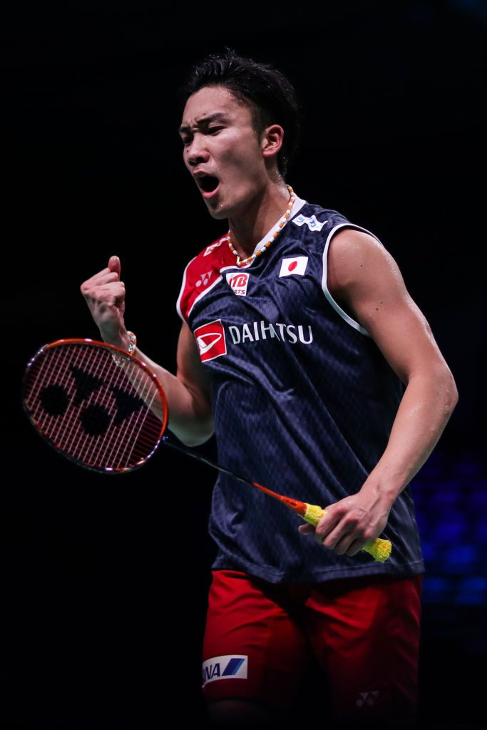 Odense Denmark October 16 Kento Momota Of Japan Reacts In The Men S Singles First Round Match Against Anthony Sinisu Badminton Match Sport Player Badminton