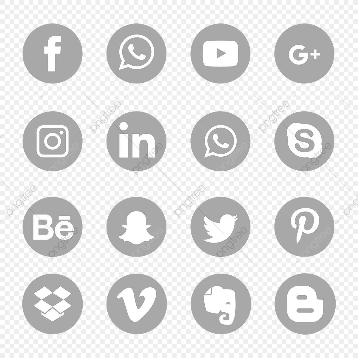 Conjunto De Icones De Midia Social Cinza Simbolo Icones Sociais Icones De Midia Social Midia Social Imagem Png E Vetor Para Download Gratuito Social Media Icons Vector Social Media Icons Snapchat