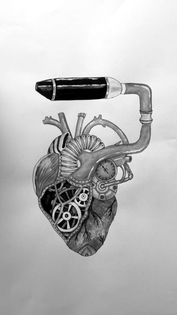 Draw, Motor, Auspuff, Herz, Anatomie | Eigene Arbeiten | Pinterest