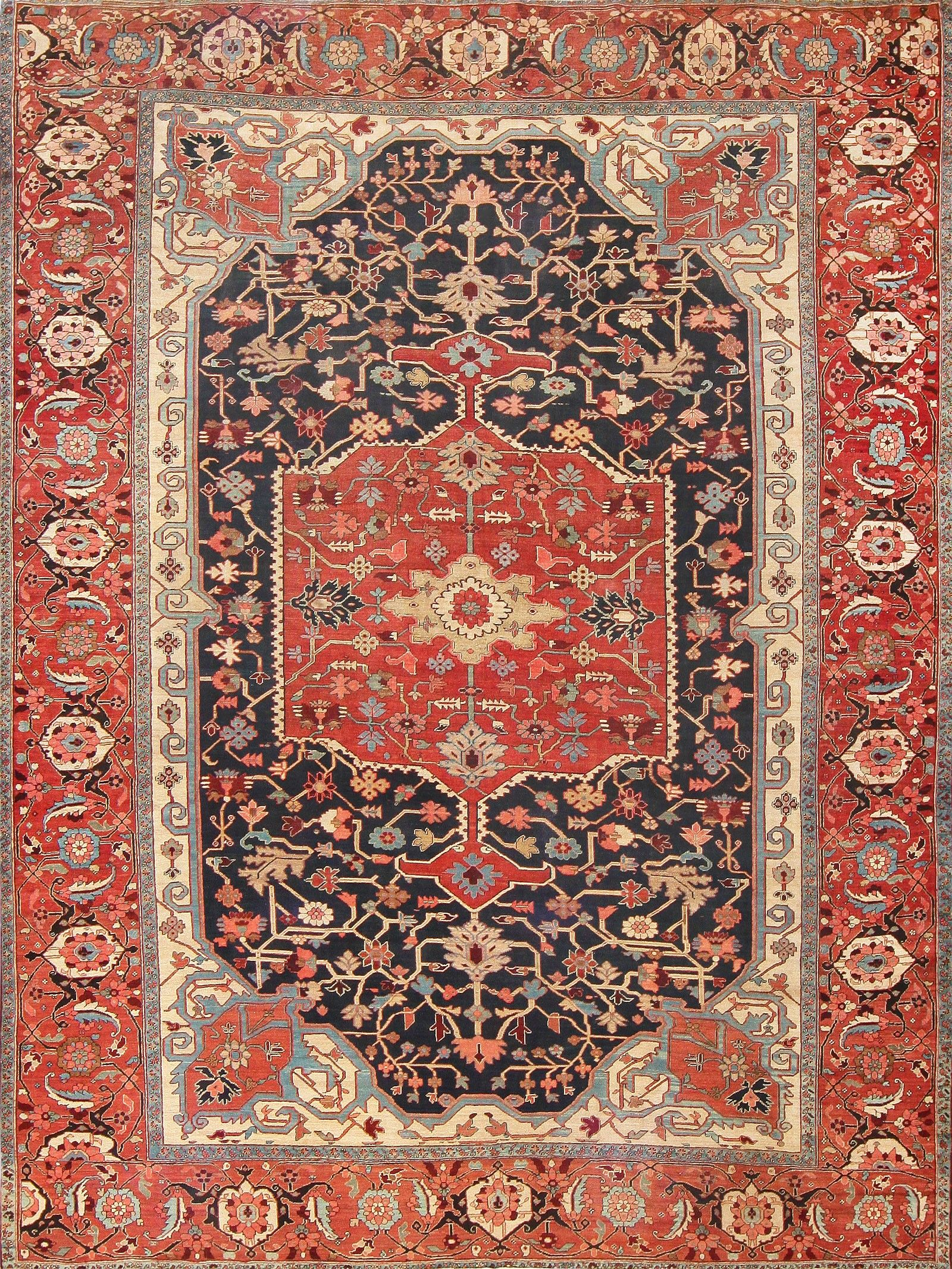 Antique Heriz Serapi Rug Provenance: Dustin Hoffman NYC 47612 Detail/Large View - By Nazmiyal