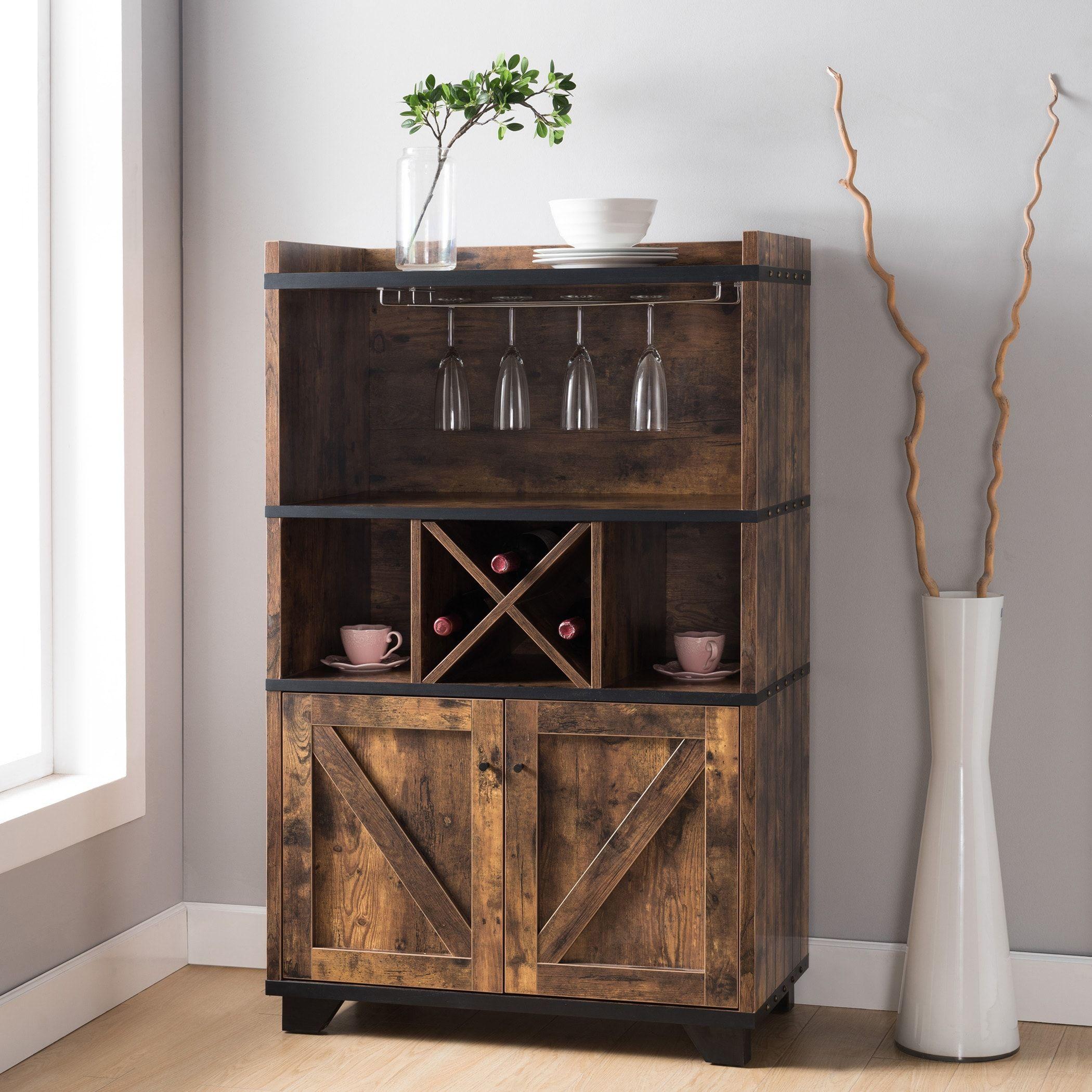 Furniture Of America Keya Farmhouse 31 Inch Wine Cabinet Buffet Wine Cabinets Rustic Wine Cabinet Bar Furniture