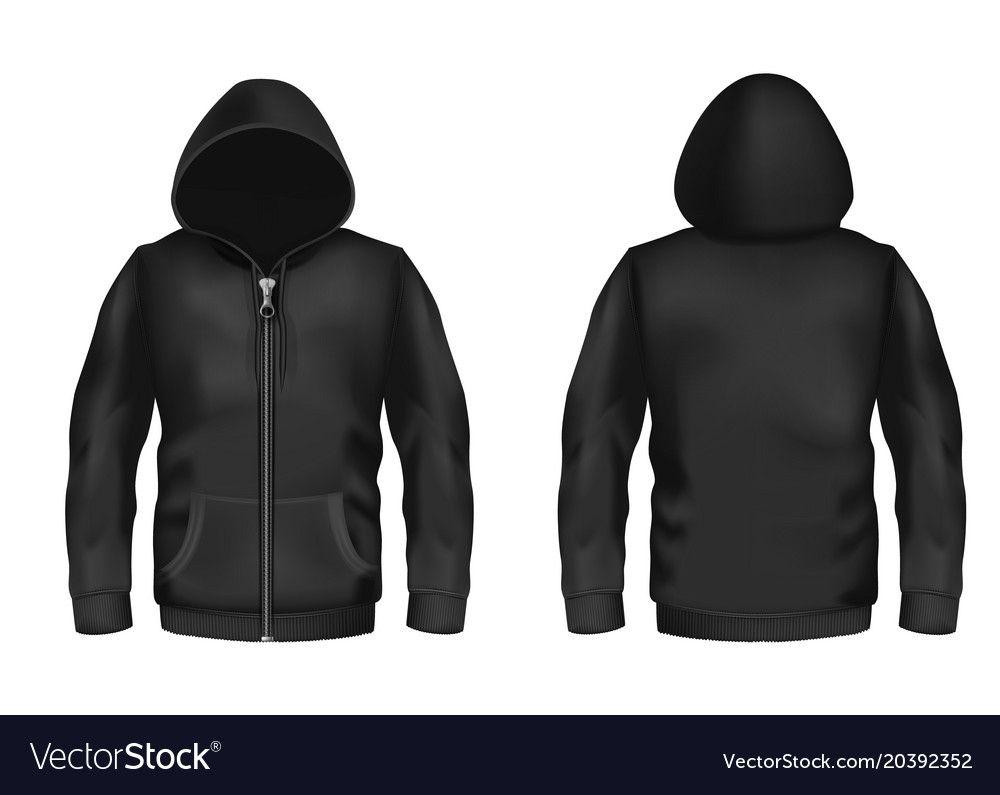 Download Mockup With Realistic Black Hoodie Vector Image Throughout Blank Black Hoodie Template Best Professional Hoodie Template Hoodie Vector Black Hoodie Template