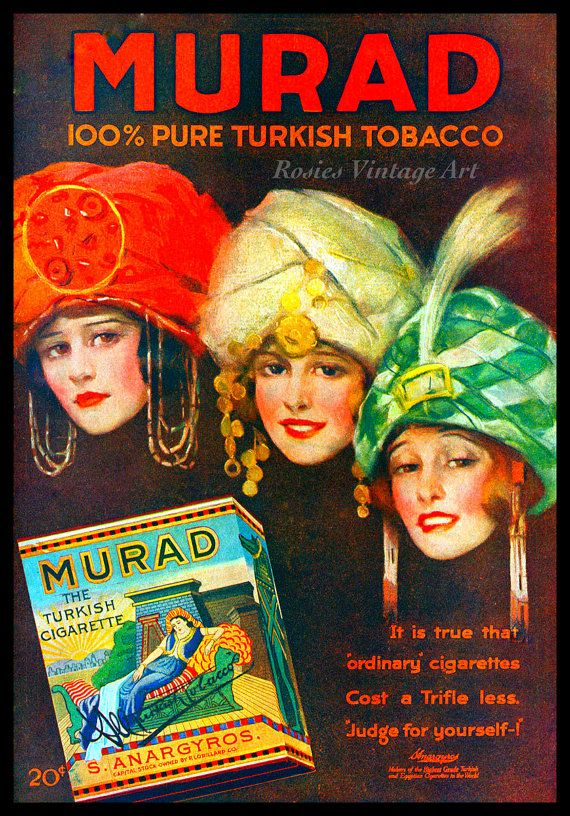Murad Cigarettes Vintage 1920s Ad - Three Women in Turbans - Tru Giclee Artists Print via Etsy