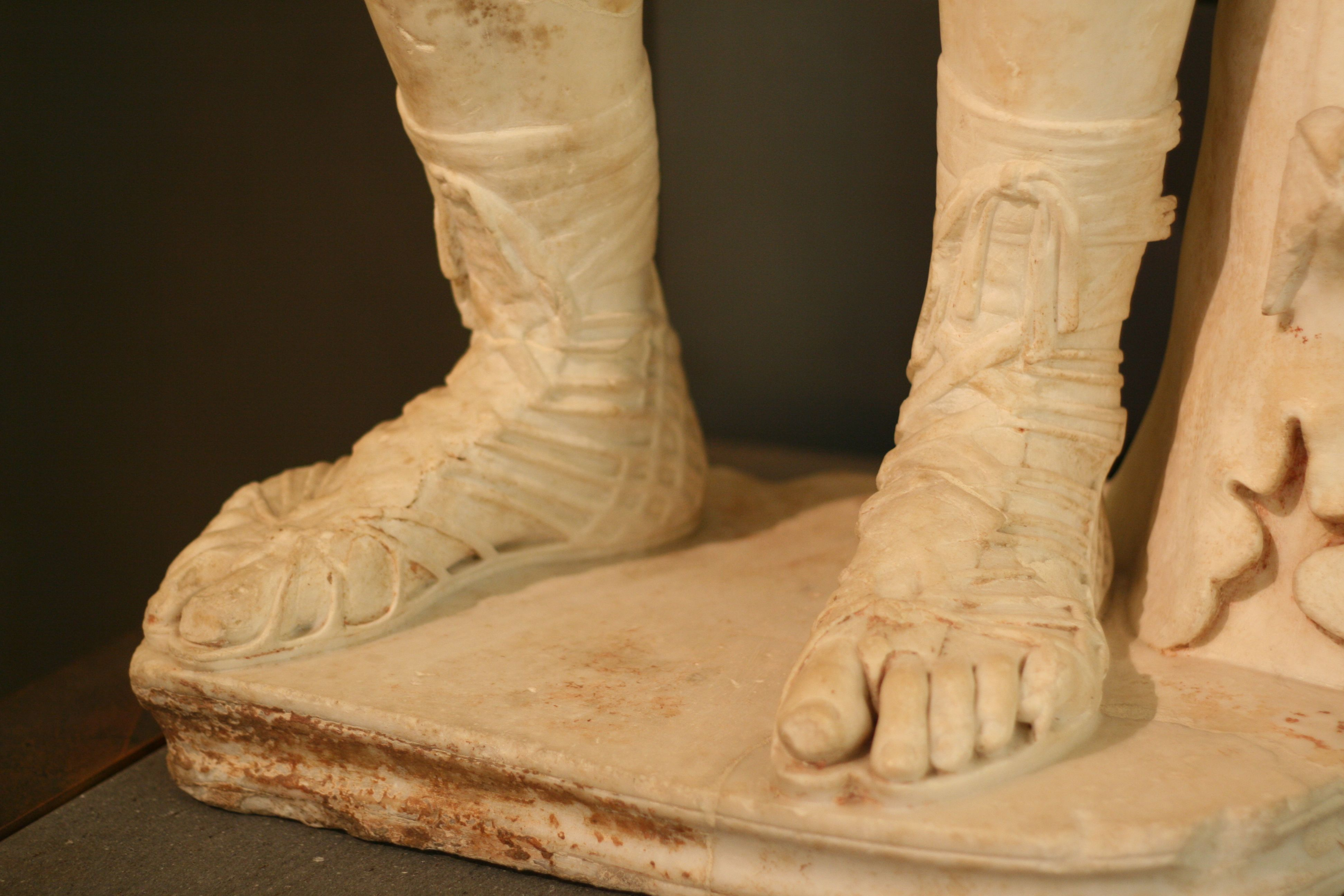 c9ff0f53b9f7d Roman gladiator sandal and foot detail from sculpture in Capitoline ...