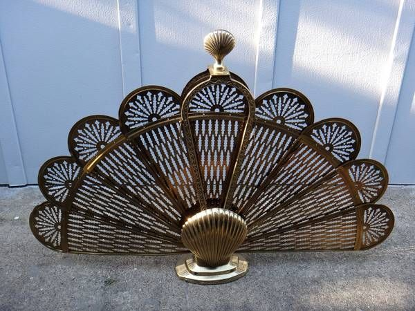 Vintage Brass Art Deco Shell and Peacock Fan Fireplace ...