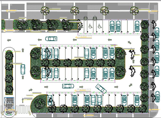 Landscaping Details With Car Parking Plot Of Super Market Dwg File Parking Design Car Park Design Car Parking