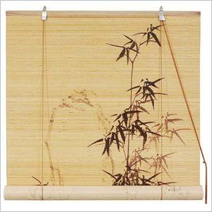"Home Marketplace Oriental Furniture Black Bamboo Design Matchstick Blinds - 24"" x 72"""