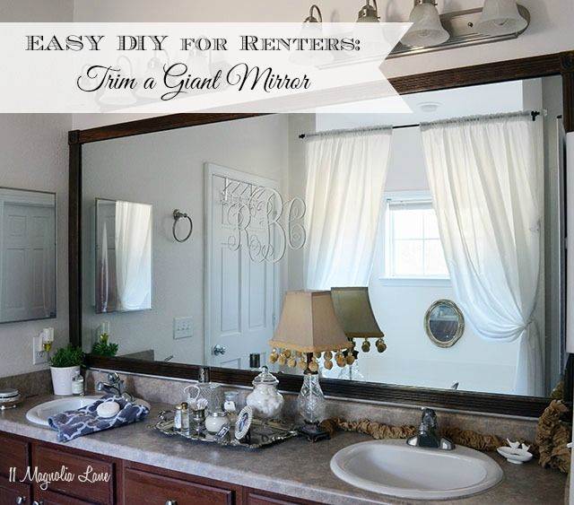 DIY Tutorial Add Wood Trim Around A Giant Mirror Easy Fix For Our