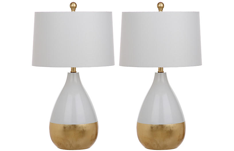 S 2 Caudell Table Lamps White Gold 199 00 Gold Table Lamp Mid Century Table Lamp Glass Table Lamp