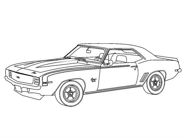 Chevy Camaro 1969 Coloring Page In 2020 Cars Coloring Pages Old School Cars Truck Coloring Pages