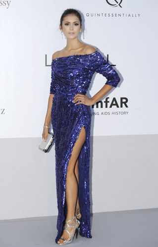 Nina Dobrev in a Elie Saab sequin gown at Cannes.