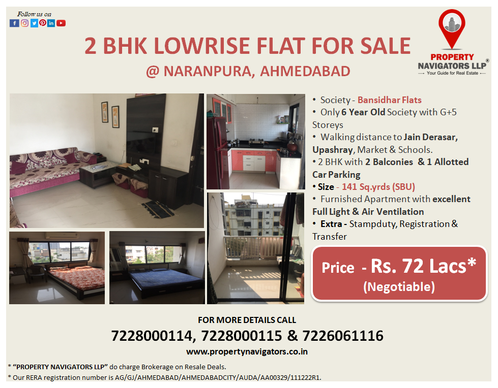 2 Bhk Lowrise Apartment For Sale At Naranpura Ahmedabad Society Bansidhar Flats Only 6 Year Old Society With G 5 Car Parking Apartments For Sale Property