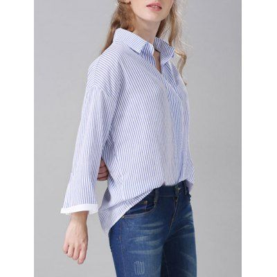 Pullover Striped Drop Shoulder Shirt #women, #men, #hats, #watches, #belts, #fashion