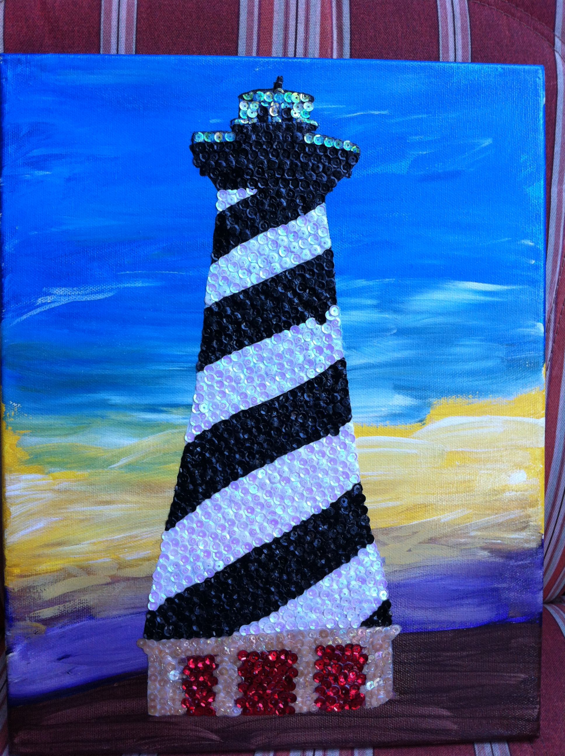 Cape Hatteras light house   sequin mosaic $25.00 #teresascanvascreations