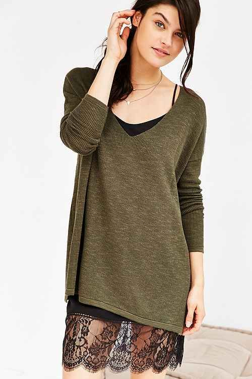 93b9be6819a7 Oversized sweater with lace slip underneath | lace | Lace trim ...