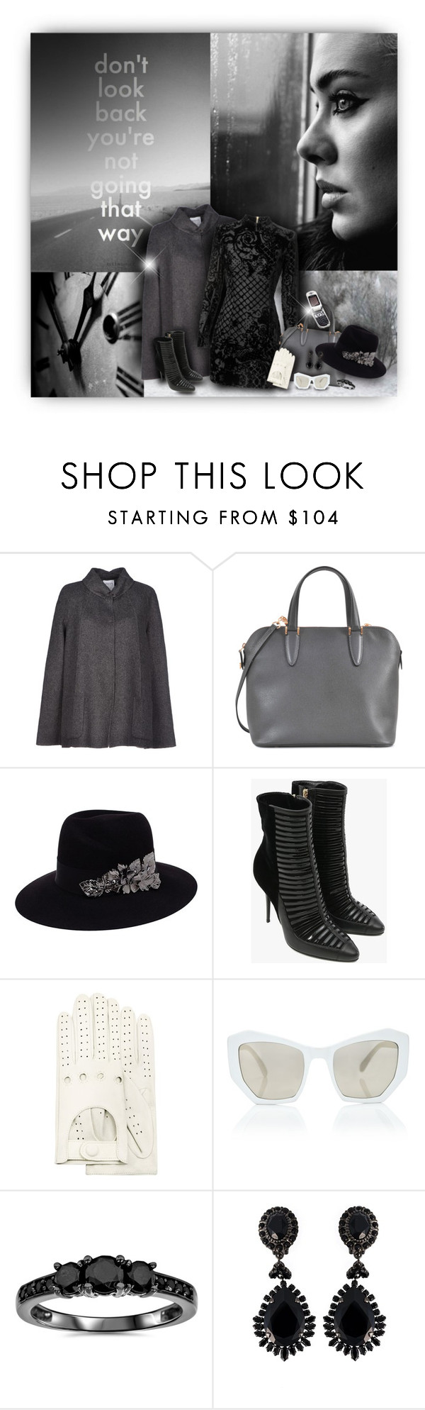 """""""Don't Look Back"""" by helenehrenhofer ❤ liked on Polyvore featuring Armani Collezioni, Valextra, Trilogy, Maison Michel, Balmain, Forzieri, Prism, Motorola, Givenchy and women's clothing"""