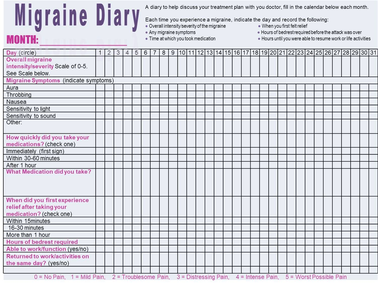 Monthly Migraine Diary To Track Migraine Occurrences