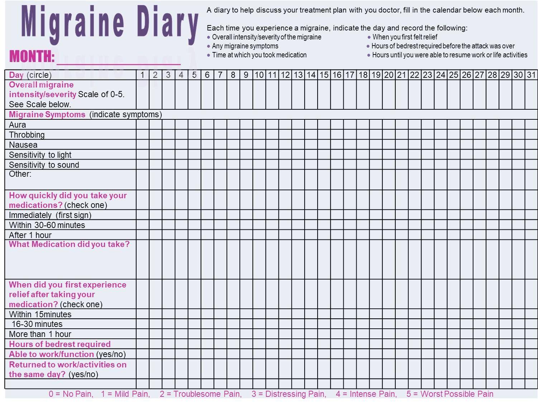 Monthly Migraine Diary To Track Migraine Occurrences