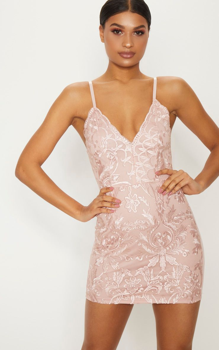 1e77d82cc75 Dusty Pink Embroidered Lace Detail Plunge Bodycon Dress in 2018 ...