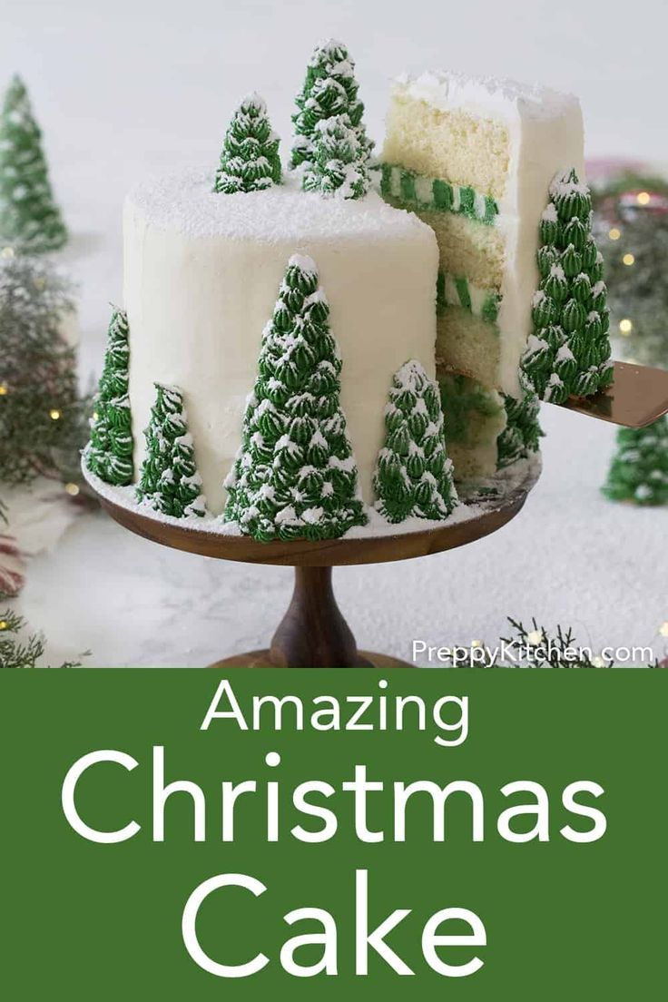 A delicious vanilla cake from Preppy Kitchen with creamy, dreamy vanilla buttercream. Topped with beautiful, edible Christmas trees, this cake is its own winter wonderland. #christmascake #bestcakes #holidaycake #holidaydesserts