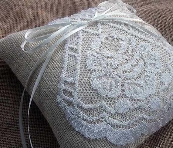 Ring Bearer Pillow B u r l a p and L a c e outdoor rustic wedding ...