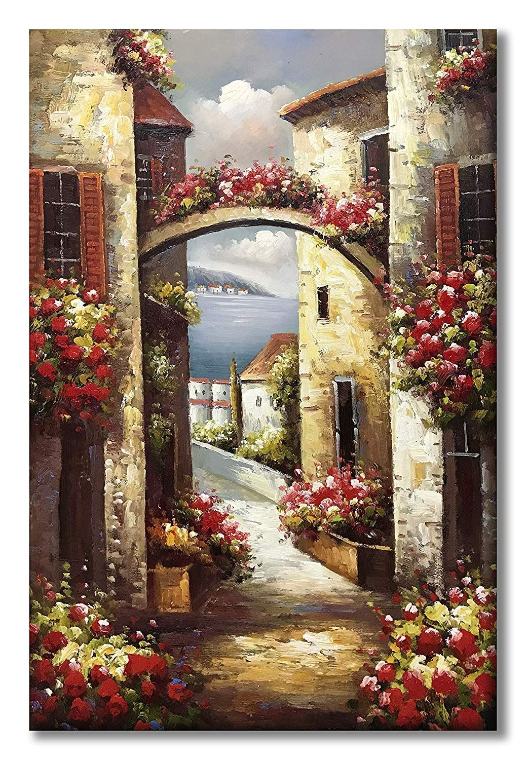 Hand Painted Canvas Wall Art Italy Town Mediterranean Tuscany Sea Oil Painting Flowers Wall Canvas Abstract Canvas Wall Art