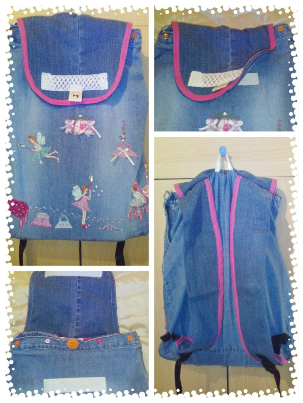 An embroidered jeans school backpack from an outgrown girl's skirt. It is fully lined with an internal pocket for all those little necessities that usually go astray in a school bag