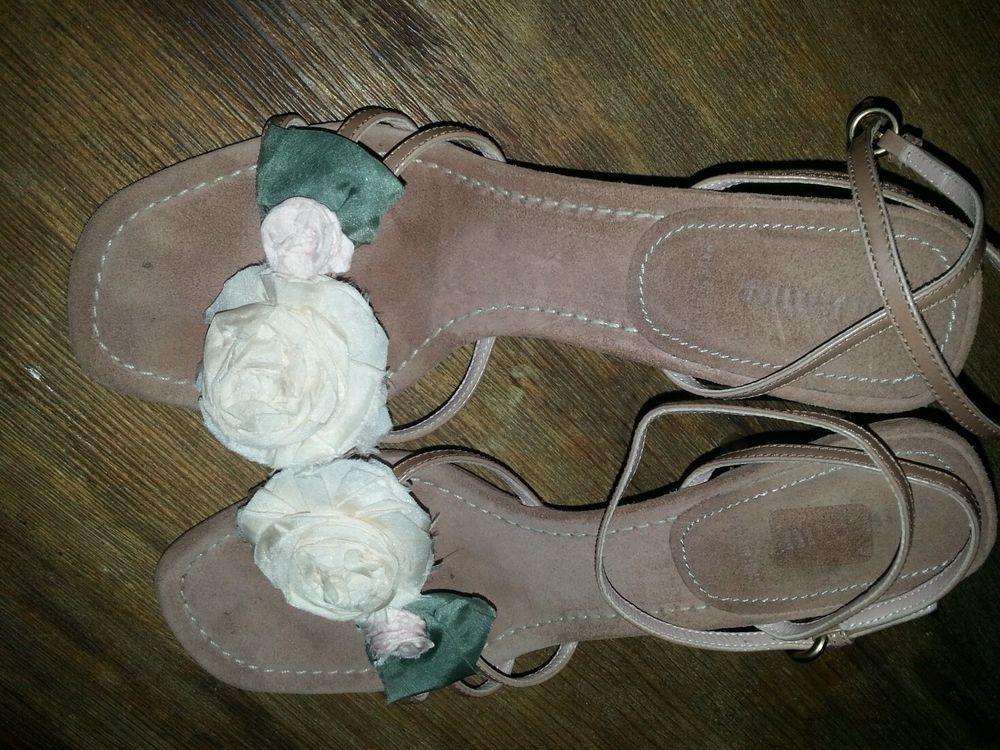 Miu Miu chiffon flower sandals Desert Sand/Tan Sz 38 heels Ankle straps #MIUMIU #Strappy
