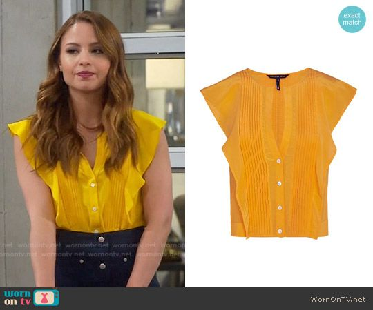 0df7adc344dc9a Sofia's yellow ruffled top on Young and Hungry. Outfit Details: https://