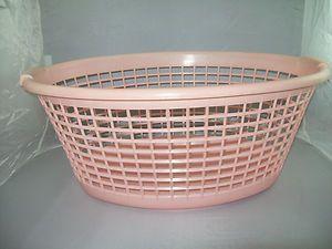 Pink Laundry Basket Clothes Basket Mid Century Kitchen Vintage