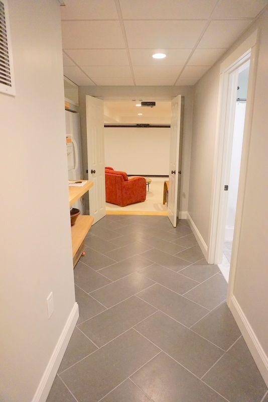 Porcelain Tiles Home Depot: Basement Hallway. Tiles Are Home Depot Beton Concrete, In