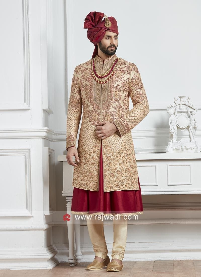 d9b4b7f57d Attractive Heavy Embroidery work Silk Sherwani. #rajwadi #designer  #exclusive #trendy #sherwani #wedding #collection #embroidered #2019Grooms
