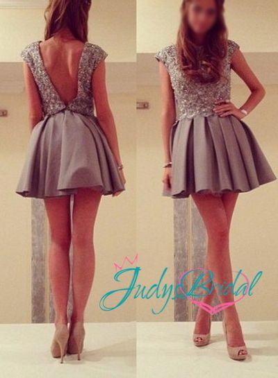 Short Gray Homecoming Dresses 2015