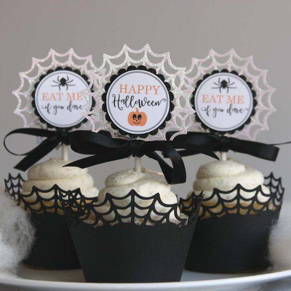Halloween cupcake toppers - halloween party decorations - halloween