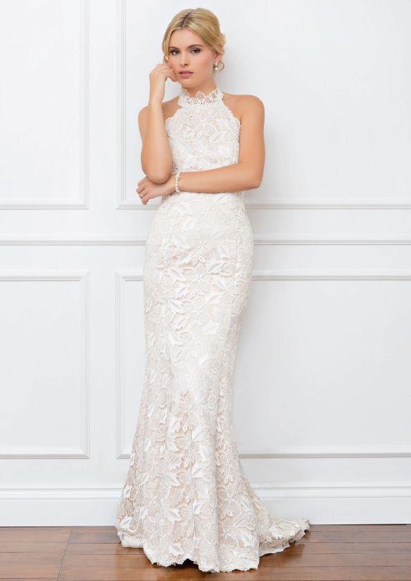 Kari Wendy Makin Couture. Racer neck Wedding gown. Lace