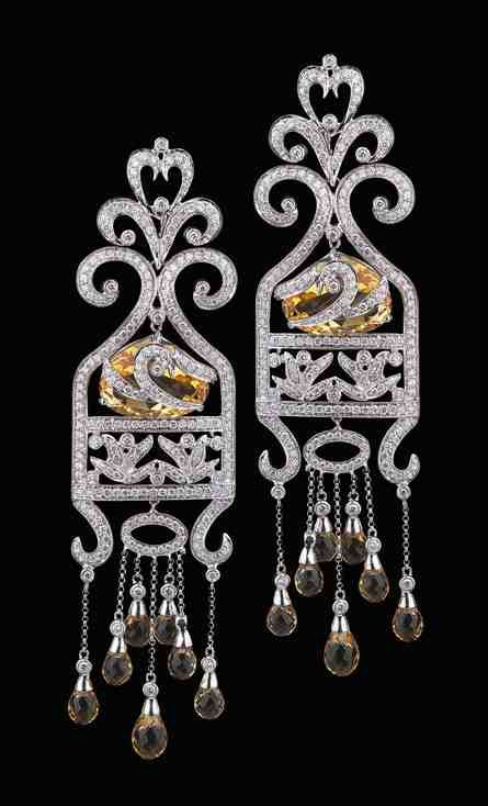 Aura-Sara-Taseer-18K-White-Gold-Citrine-and-Diamond-Earrings.