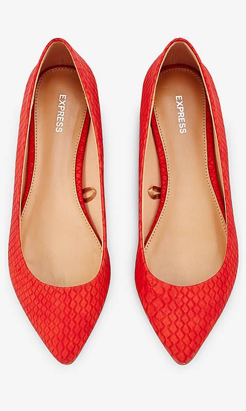 Red Textured Pointed Toe Flat from