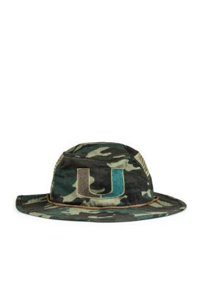 5af9390f97196 Cowbucker Miami Hurricanes Camo Mesh Boonie   Bucket Hat (Lightweight  Outdoor Wide Brim Performance Sun Cap) - Green Camo - One Size